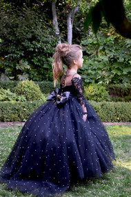 Black Pageant Girl Communion Flower Girl Gown Baby Baptism Party Dress