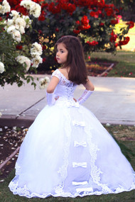 White Lace Communion Gown Flower Girl Tulle Dress Baby Baptism Gown