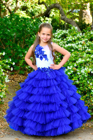 Girls Couture 3D Lace Tulle Ruffled Pageant Special Occasion Baby Gown