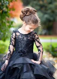 Couture 3D Lace Satin Tulle Flower Girl Pageant Gown Toddler Party Dress