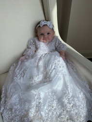 Stunning Christening Pearl Beaded Lace Gown Baby White Baptism Dress