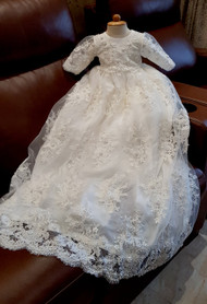 Handmade Baptism Gown Christening Beaded Lace Gown Baby Baptism Dress