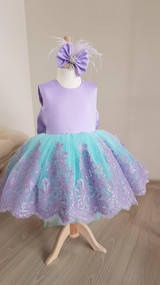 Handmade Pageant Girl Satin Lace Dress Toddler Party Birthday Dress