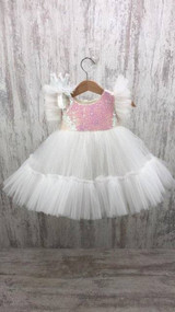 Girls Sparkly Sequins And Tulle Pageant Birthday Flower Girl Toddler Dress