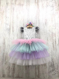 Couture Silver Sequin Tulle Girls Pageant Party Dress Toddler Birthday Dress