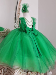 Couture Satin Flower Girl Special Occasion Pageant Dress Glitter Tulle Skirt