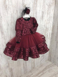 Girls Sequin Pageant Party Dress Birthday Tulle Pageant Dress For Toddler