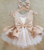 Custom Couture Toddler Satin Tulle Flower Girl Dress Girl Pageant Satin Dress