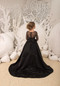 Couture Hi Lo Black Satin Tulle Pageant Gown Flower Girl Birthday Party Dress