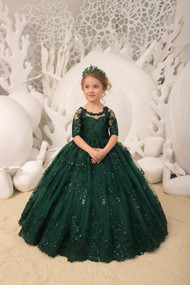 Pageant Girl Lace Tulle Gown Birthday Party Flower Girl Special Occasion Dress