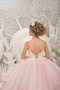 Couture Ivory Blush Natural Pageant Gown Wedding Flower Girl Tulle Dress