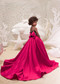 Junior Satin Pageant Gown Special Occasion Fuchsia Flower Girl Dress