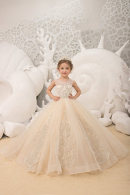 Flower Girl Wedding Party Dress Natural Pageant Gown Birthday Dress Beaded Lace