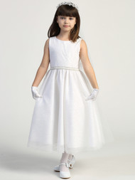 Girls White Glitter Tulle Flower Girl First Communion Tea Length Dress