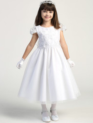 Embroidered Beaded Tulle Flower Girl Dress Special Occasion Communion Dress