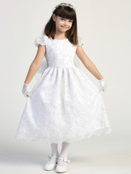 Girls Embroidered Lace 1st Communion Dress Tea Length Flower Girl Dress