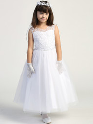 Flower Girl Beaded Lace Dress Tulle Embroidered Lace Communion Dress