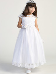 Embroidered Lace Tulle Communion Dress Flower Girl Special Occasion Dress
