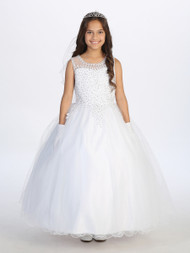 1st Communion Dress Girls Beaded White Dress Special Occasion Girl Dress