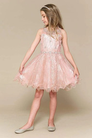 Girls Short Pageant Special Occasion Dress With Glitter Tulle Skirt