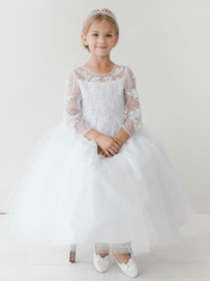 Girls Communion Sheer Lace Tulle Flower Girl Special Occasion Dress