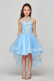 Tulle Sweetheart Neckline Beaded Girl Pageant Party Hi Lo Dress