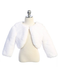 Girls White Faux Fur Jacket For First Communion Special Occasion Dress