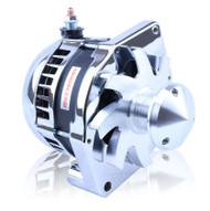 "S Series 6 Phase High Output 240 Amp Alternator with 6.61"" - Self Exciting - Chrome w/March 1.75"" Pulley and Fan"
