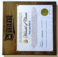 Award Plaque - Solid Maple: New Brigade Logo