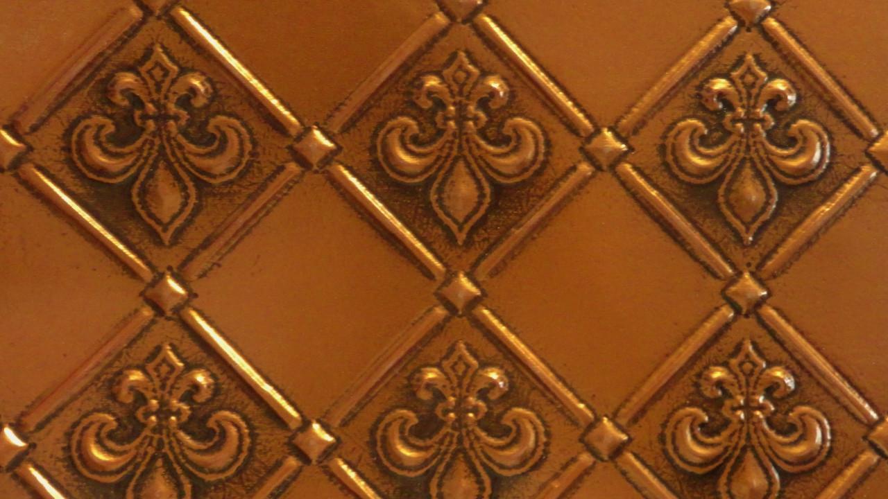 - Faux Tin PVC Backsplash Roll Wall Covering - WC80 Fleur De Lis