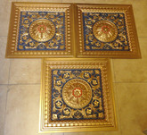 D215 Gold Blue Red - Lot of 3 pcs - PVC Drop In Ceiling Tiles
