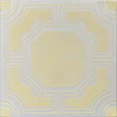 "R28 White Yellow Printed Styrofoam Glue Up Ceiling Tile 20""x20"" - AS IS"