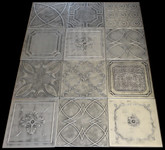 Photography backdrop collage Mix of Various Ceiling Tiles Lot of 12 - Antique Silver