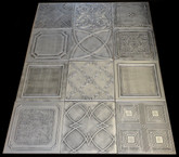 Photography backdrop collage Mix of Various Ceiling Tiles Lot of 12 - Antique Silver 2
