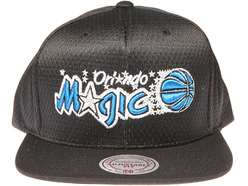 Orlando Magic Logo Mitchell & Ness NBA Black Mesh Snapback Hat