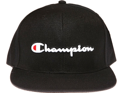 Champion Script Black Snapback Hat