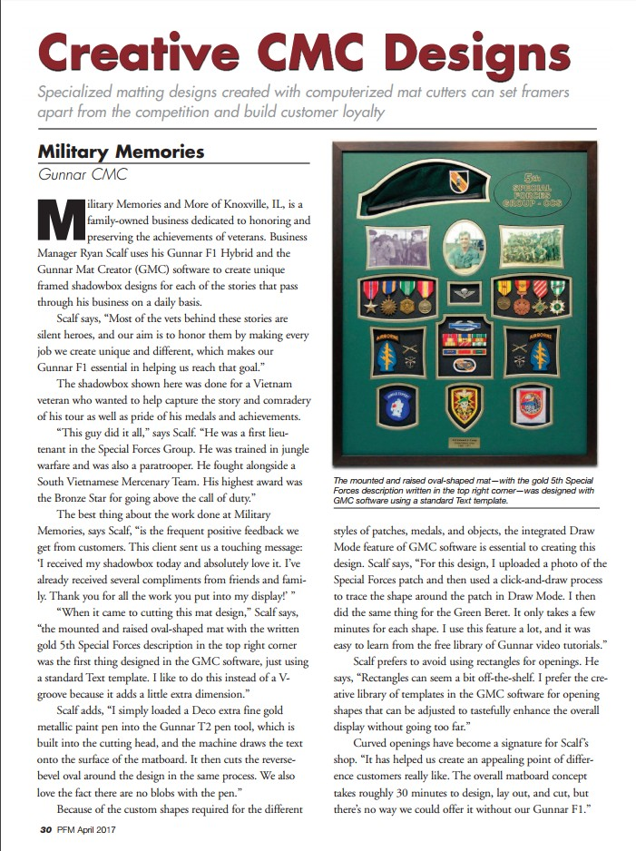 Picture Framing Magazine Article - April 2017 - Military Memories ...