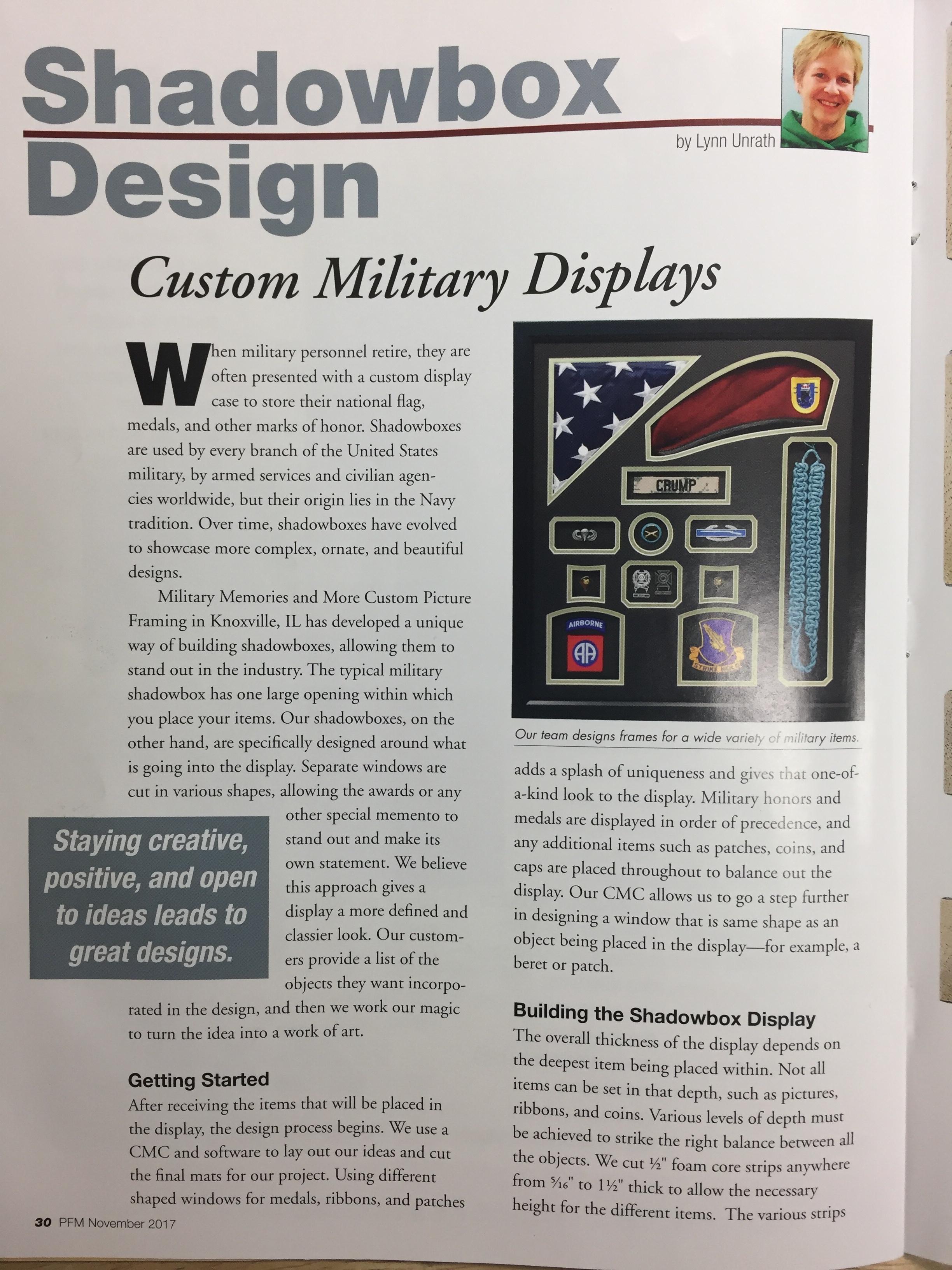 Picture Framing Magazine - November 2017 - Military Memories