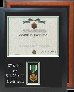 Coast Guard Commendation Certificate Frame