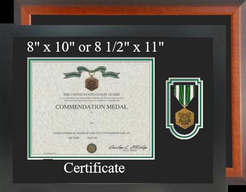 Coast Guard Commendation Certificate Frame-Horizontal
