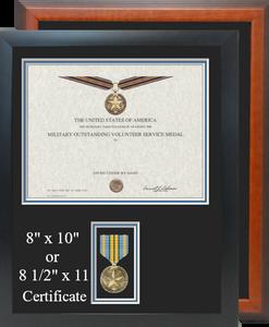 Military Outstanding Volunteer Service Certificate Frame