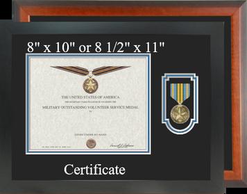Military Outstanding Volunteer Service Certificate Frame-Horizontal