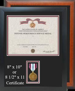 Defense Meritorious Service Certificate Frame-Vertical