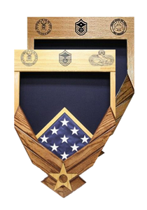 Air Force Logo Laser Top Shadow Box with Flag Window
