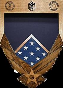 Air Force logo Laser Top Walnut Shadow Box with Flag Window