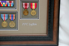Good Conduct & National Defense Medal  PFC Lufkin Scribed w/ Brown & Silver Metallic Paint Pens