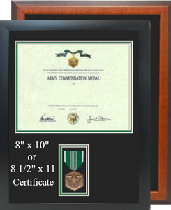 Army Commendation Certificate Frame