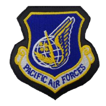 Pacific Air Forces Patch- w/hook closure- leather- color
