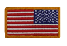 U.S. Flag Patch Reversed w/hook closures-gold edge- color