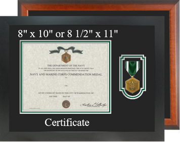 Navy / Marine Corp Commendation Medal Certificate Frame- Horizontal